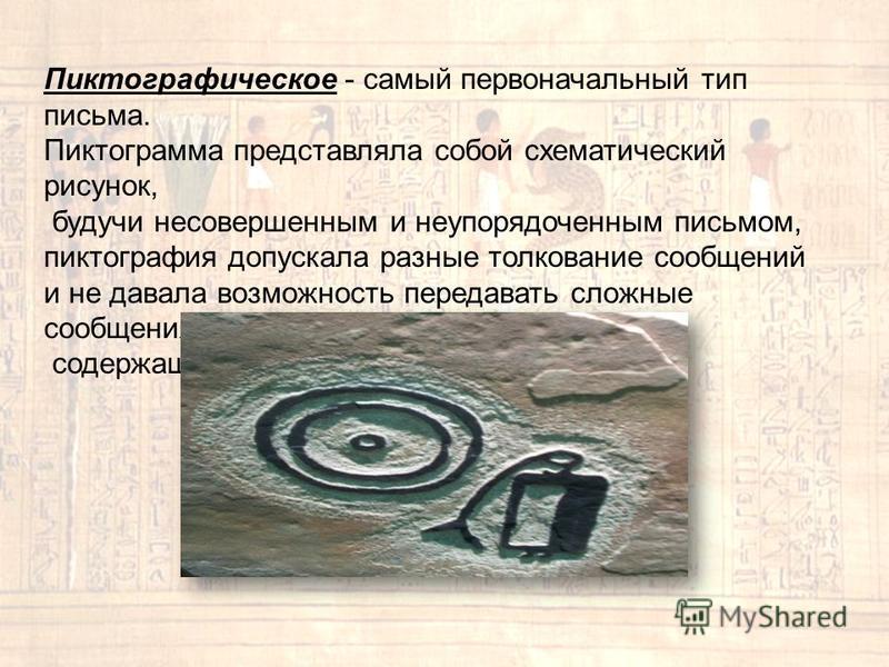 Пиктографическое - самый первоначальный тип письма. Пиктограмма представляла собой схематический рисунок, будучи несовершенным и неупорядоченным письмом, пиктография допускала разные толкование сообщений и не давала возможность передавать сложные соо