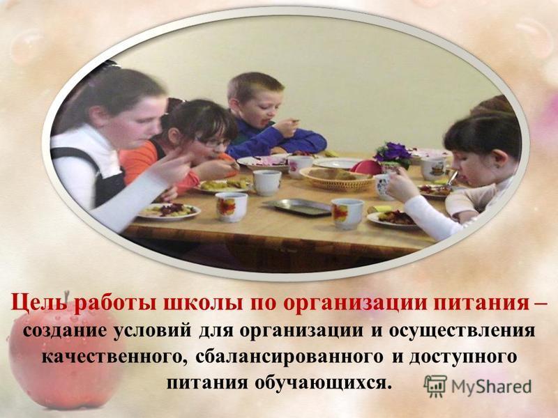 Цель работы школы по организации питания – создание условий для организации и осуществления качественного, сбалансированного и доступного питания обучающихся.