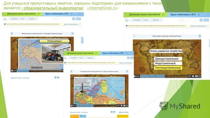 Для учащихся пропустивших занятия, хорошим подспорьем для ознакомления с темой является - образовательный видеопортал «InternetUrok.ru» - образовательный видеопортал«InternetUrok.ru