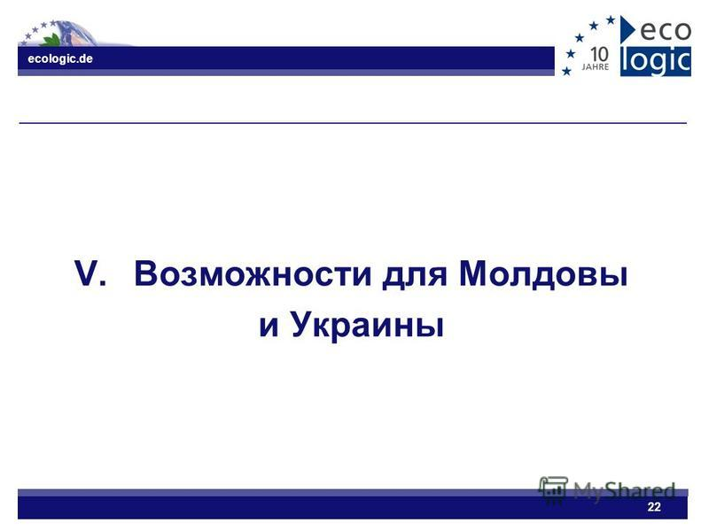 ecologic.de 22 V.Возможности для Молдовы и Украины