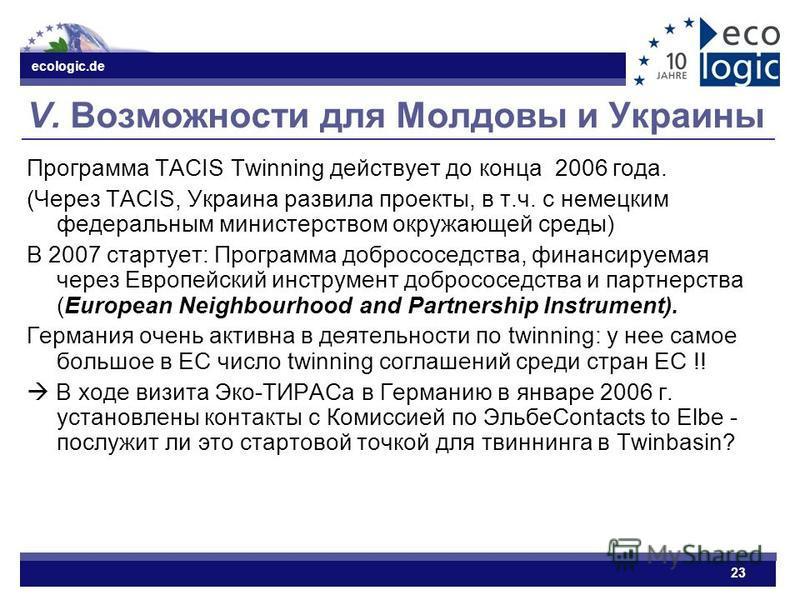 ecologic.de 23 V. Возможности для Молдовы и Украины Программа TACIS Twinning действует до конца 2006 года. (Через TACIS, Украина развила проекты, в т.ч. с немецким федеральным министерством окружающей среды) В 2007 стартует: Программа добрососедства,