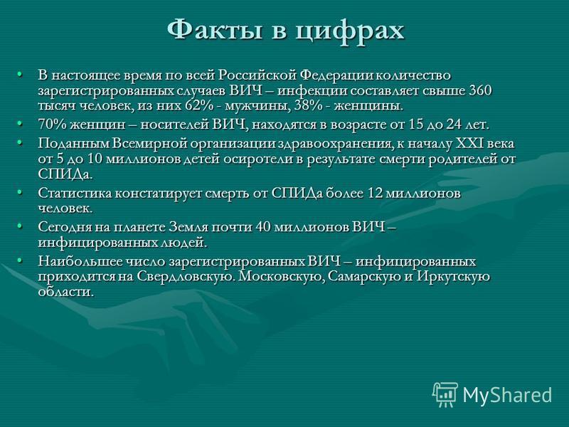 Факты в цифрах В настоящее время по всей Российской Федерации количество зарегистрированных случаев ВИЧ – инфекции составляет свыше 360 тысяч человек, из них 62% - мужчины, 38% - женщины.В настоящее время по всей Российской Федерации количество зарег