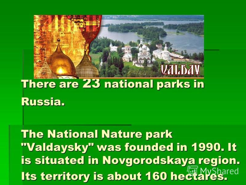 There are 23 national parks in Russia. The National Nature park Valdaysky was founded in 1990. It is situated in Novgorodskaya region. Its territory is about 160 hectares.