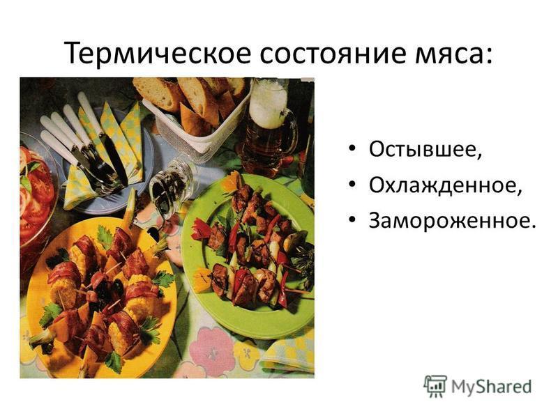 Термическое состояние мяса: Остывшее, Охлажденное, Замороженное.