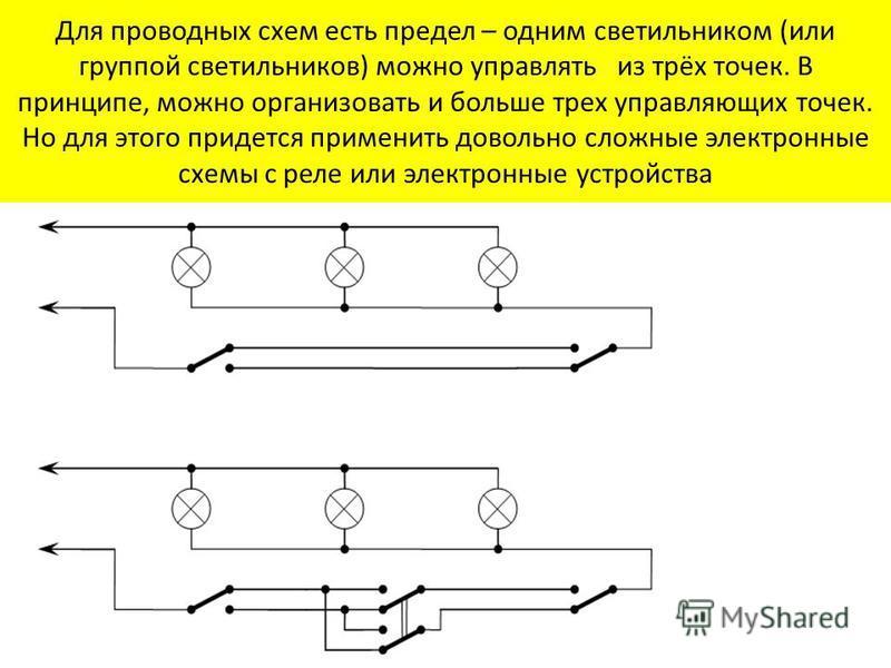 Для проводных схем есть предел – одним светильником (или группой светильников) можно управлять из трёх точек. В принципе, можно организовать и больше трех управляющих точек. Но для этого придется применить довольно сложные электронные схемы с реле ил