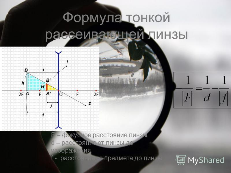 Формула тонкой рассеивающей линзы F – фокусное расстояние линзы d – расстояние от линзы до изображения f - расстояние от предмета до линзы