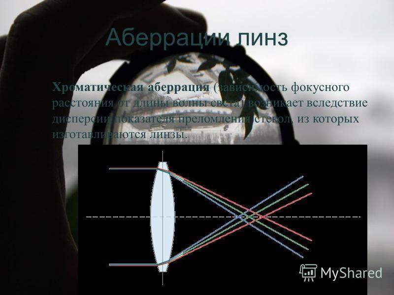 Аберрации линз Хроматическая аберрация (зависимость фокусного расстояния от длины волны света) возникает вследствие дисперсии показателя преломления стекол, из которых изготавливаются линзы.