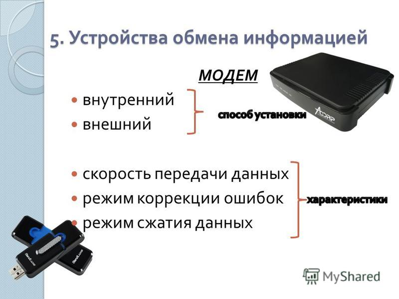5. Устройства обмена информацией МОДЕМ внутренний внешний скорость передачи данных режим коррекции ошибок режим сжатия данных