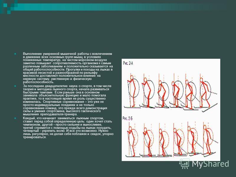 Выполнение умеренной мышечной работы с вовлечением в движение всех основных групп мышц в условиях пониженных температур, на чистом морозном воздухе заметно повышает сопротивляемость организма к самым различным заболеваниям и положительно сказывается