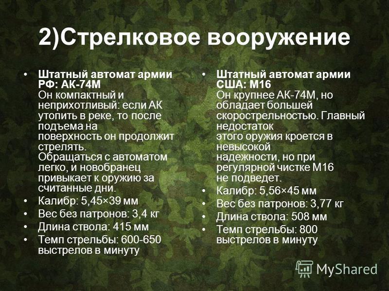 2)Cтрелковое вооружение Штатный автомат армии РФ: АК-74М Он компактный и неприхотливый: если АК утопить в реке, то после подъема на поверхность он продолжит стрелять. Обращаться с автоматом легко, и новобранец привыкает к оружию за считанные дни. Кал