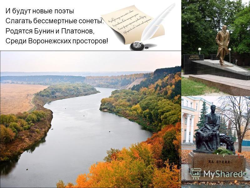 И будут новые поэты Слагать бессмертные сонеты. Родятся Бунин и Платонов, Среди Воронежских просторов!