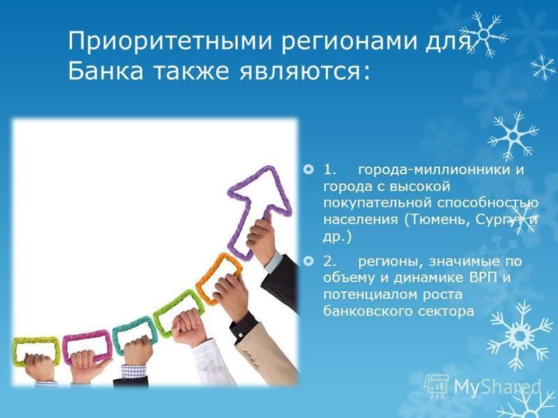 Приоритетными регионами для Банка также являются: 1.города-миллионники и города с высокой покупательной способностью населения (Тюмень, Сургут и др.) 2.регионы, значимые по объему и динамике ВРП и потенциалом роста банковского сектора