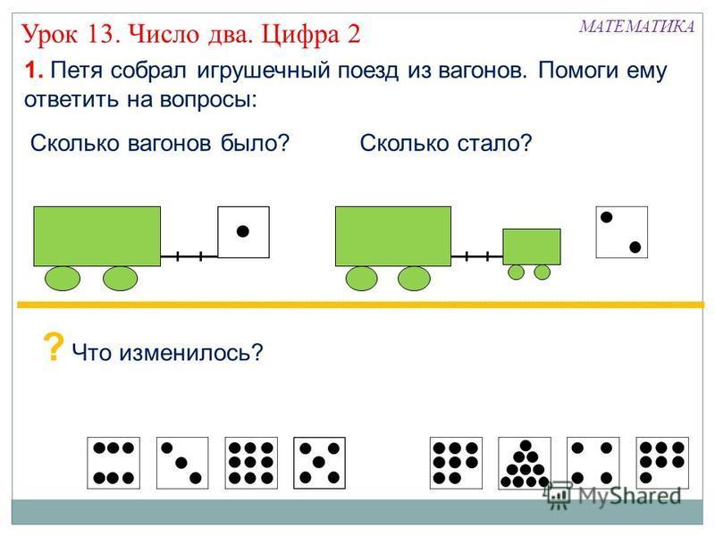 Урок 13. Число два. Цифра 2 1. Петя собрал игрушечный поезд из вагонов. Помоги ему ответить на вопросы: Сколько вагонов было?Сколько стало? МАТЕМАТИКА ? Что изменилось?