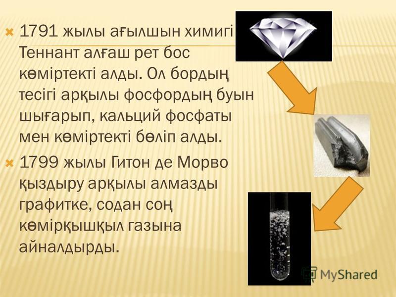 1791 жылы а ғ ылшын химигі Теннант ал ғ аш рет бос к ө міртекті алды. Ол борды ң тесігі ар қ ылы фосфорды ң буын шы ғ арып, кальций фосфаты мен к ө міртекті б ө ліп алды. 1799 жылы Гитон де Морво қ ыздыру ар қ ылы алмазды графитке, содан со ң к ө мір