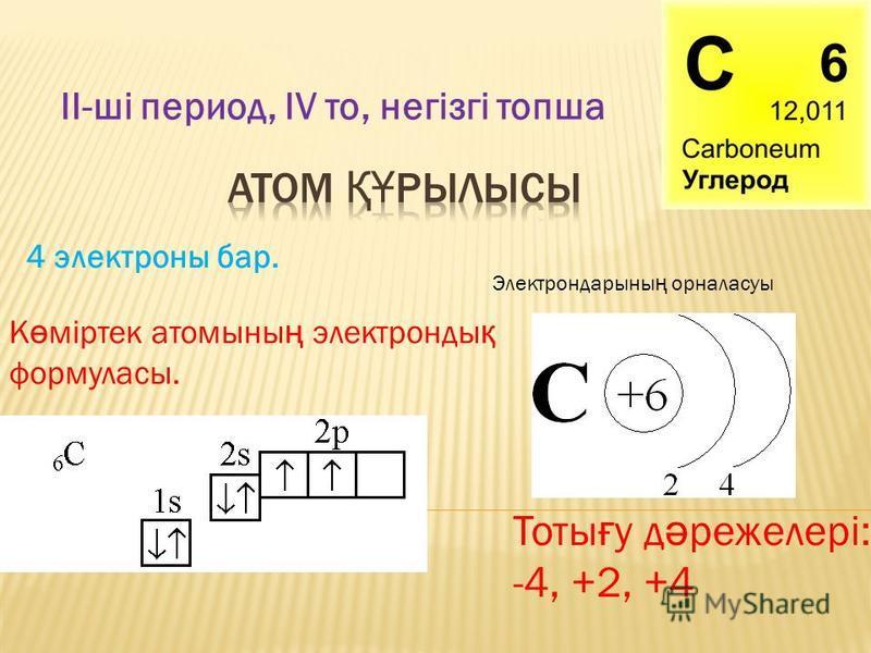 ІІ-ші период, ІV то, негізгі топша 4 электроны бар. Электрондарыны ң орналасуы К ө міртек атомыны ң электронды қ формуласы. Тоты ғ у д ә режелері: -4, +2, +4