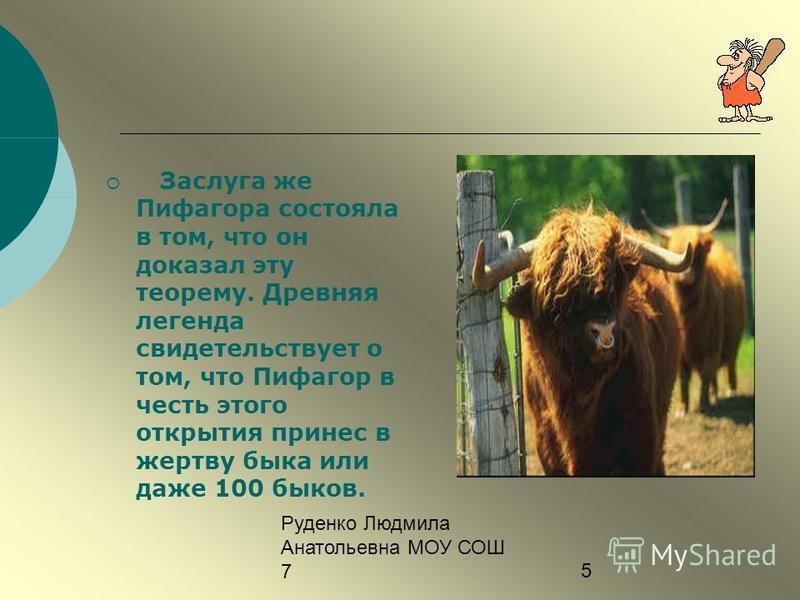 Руденко Людмила Анатольевна МОУ СОШ 75 Заслуга же Пифагора состояла в том, что он доказал эту теорему. Древняя легенда свидетельствует о том, что Пифагор в честь этого открытия принес в жертву быка или даже 100 быков.