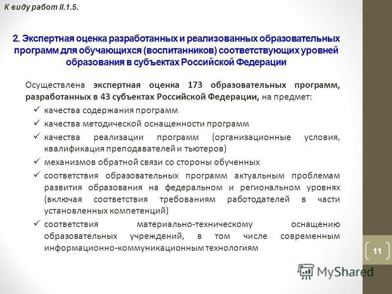 11 К виду работ II.1.5. 2. Экспертная оценка разработанных и реализованных образовательных программ для обучающихся (воспитанников) соответствующих уровней образования в субъектах Российской Федерации Осуществлена экспертная оценка 173 образовательны
