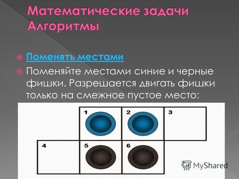 Поменять местами Поменяйте местами синие и черные фишки. Разрешается двигать фишки только на смежное пустое место: