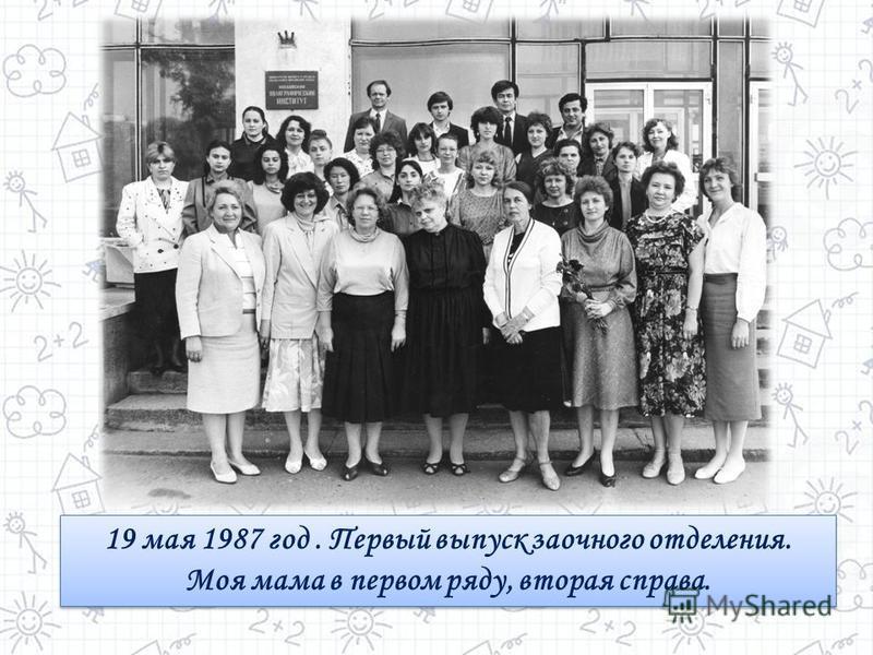 19 мая 1987 год. Первый выпуск заочного отделения. Моя мама в первом ряду, вторая справа. 19 мая 1987 год. Первый выпуск заочного отделения. Моя мама в первом ряду, вторая справа.