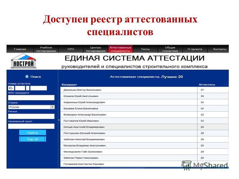 Доступен реестр аттестованных специалистов 26