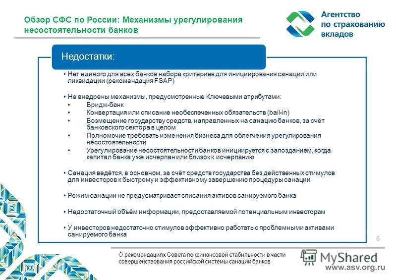 О рекомендациях Совета по финансовой стабильности в части совершенствования российской системы санации банков Нет единого для всех банков набора критериев для инициирования санации или ликвидации (рекомендация FSAP) Не внедрены механизмы, предусмотре
