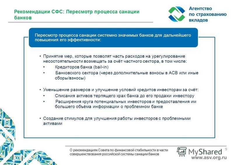 О рекомендациях Совета по финансовой стабильности в части совершенствования российской системы санации банков Принятие мер, которые позволят часть расходов на урегулирование несостоятельности возмещать за счёт частного сектора, в том числе: Кредиторо
