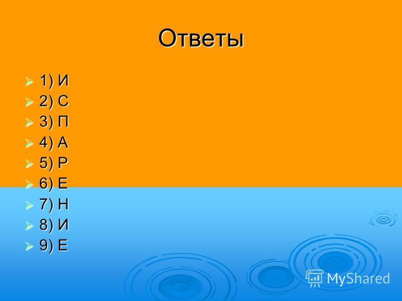 Ответы 1) И 1) И 2) С 2) С 3) П 3) П 4) А 4) А 5) Р 5) Р 6) Е 6) Е 7) Н 7) Н 8) И 8) И 9) Е 9) Е