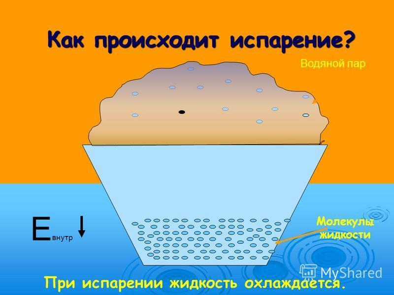 Как происходит испарение? Водяной пар Молекулы жидкости При испарении жидкость охлаждается. Е внутр