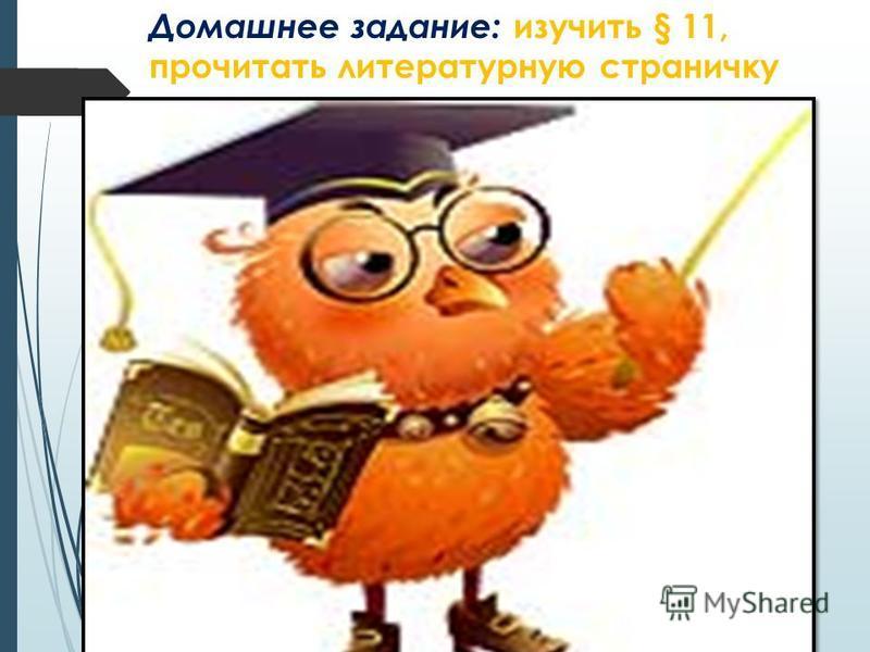 Домашнее задание: изучить § 11, прочитать литературную страничку