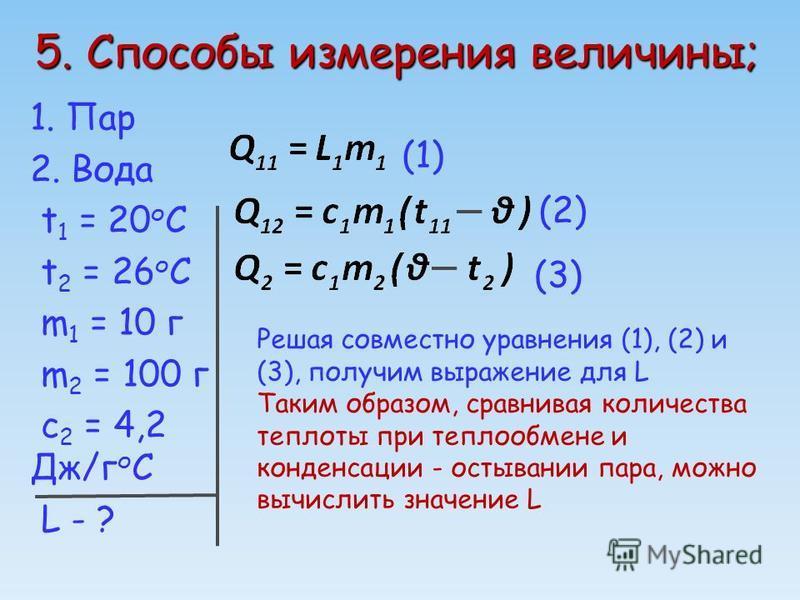 5. Способы измерения величины; 1. Пар 2. Вода t 1 = 20 о C t 2 = 26 о C m 1 = 10 г m 2 = 100 г c 2 = 4,2 Дж/г о С L - ? (1) (2) (3) Решая совместно уравнения (1), (2) и (3), получим выражение для L Таким образом, сравнивая количества теплоты при тепл