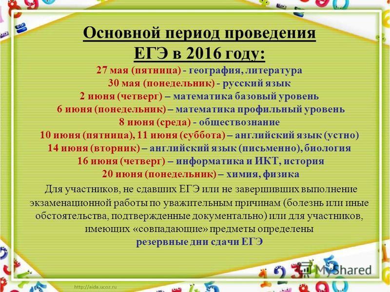 Основной период проведения ЕГЭ в 2016 году: 27 мая (пятница) - география, литература 30 мая (понедельник) - русский язык 2 июня (четверг) – математика базовый уровень 6 июня (понедельник) – математика профильный уровень 8 июня (среда) - обществознани