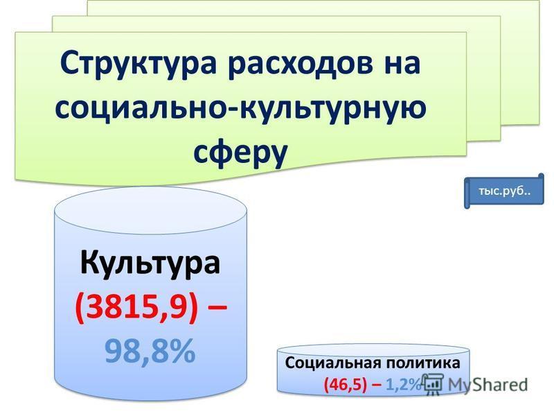 Структура расходов на социально-культурную сферу Социальная политика (46,5) – 1,2% Культура (3815,9) – 98,8% тыс.руб..