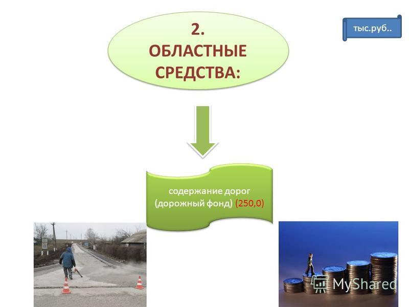 2. ОБЛАСТНЫЕ СРЕДСТВА: содержание дорог (дорожный фонд) (250,0) тыс.руб..