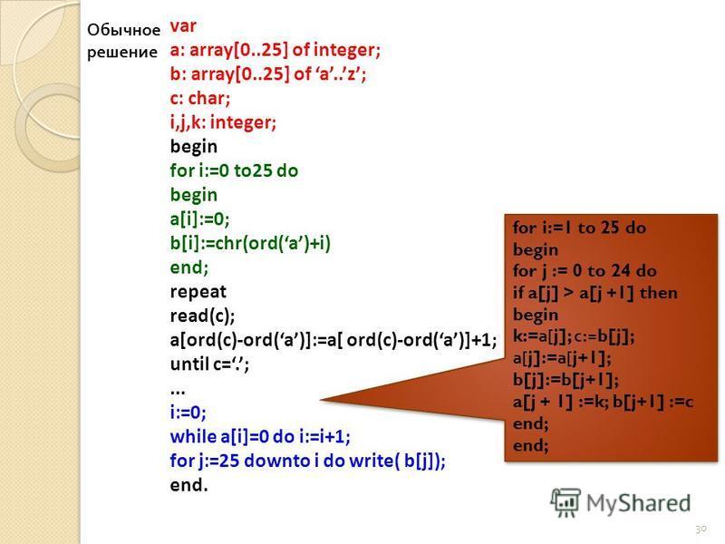 30 var a: array[0..25] of integer; b: array[0..25] of a..z; c: char; i,j,k: integer; begin for i:=0 to25 do begin a[i]:=0; b[i]:=chr(ord(a)+i) end; repeat read(c); a[ord(c)-ord(a)]:=a[ ord(c)-ord(a)]+1; until c=.;... i:=0; while a[i]=0 do i:=i+1; for
