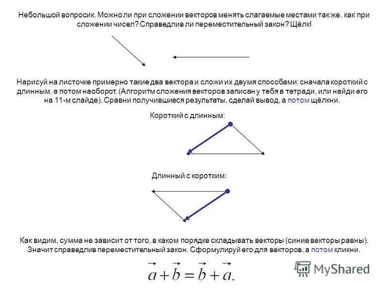 Небольшой вопросик. Можно ли при сложении векторов менять слагаемые местами так же, как при сложении чисел? Справедлив ли переместительный закон? Щёлк! Нарисуй на листочке примерно такие два вектора и сложи их двумя способами: сначала короткий с длин