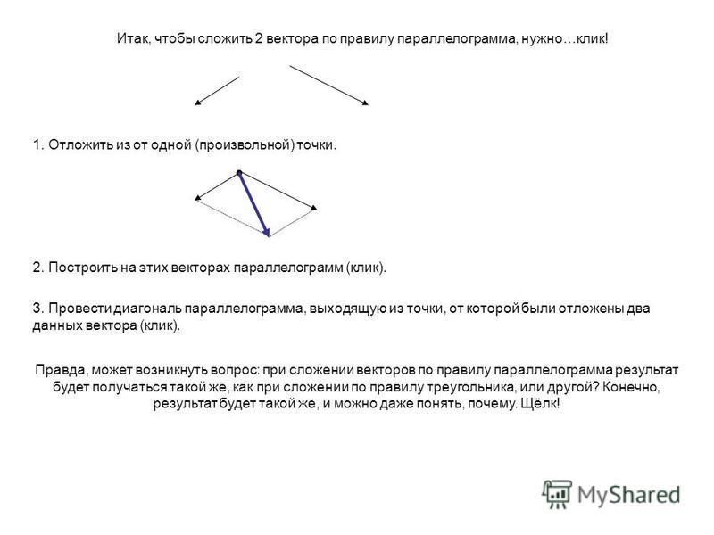 Итак, чтобы сложить 2 вектора по правилу параллелограмма, нужно…клик! 1. Отложить из от одной (произвольной) точки. 2. Построить на этих векторах параллелограмм (клик). 3. Провести диагональ параллелограмма, выходящую из точки, от которой были отложе