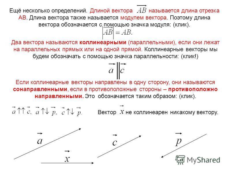 Ещё несколько определений. Длиной вектора называется длина отрезка АВ. Длина вектора также называется модулем вектора. Поэтому длина вектора обозначается с помощью значка модуля: (клик). Два вектора называются коллинеарными (параллельными), если они
