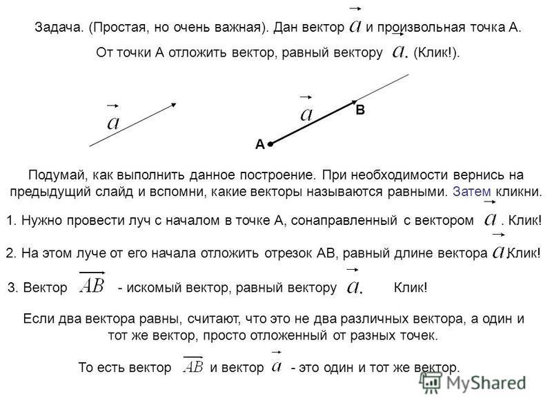 Задача. (Простая, но очень важная). Дан вектори произвольная точка А. От точки А отложить вектор, равный вектору (Клик!). А Подумай, как выполнить данное построение. При необходимости вернись на предыдущий слайд и вспомни, какие векторы называются ра