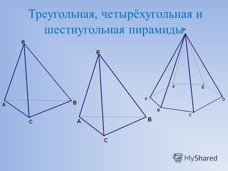 Треугольная, четырёхугольная и шестиугольная пирамиды