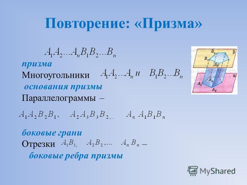 Повторение: «Призма» призма Многоугольники основания призмы Параллелограммы – боковые грани Отрезки – боковые ребра призмы