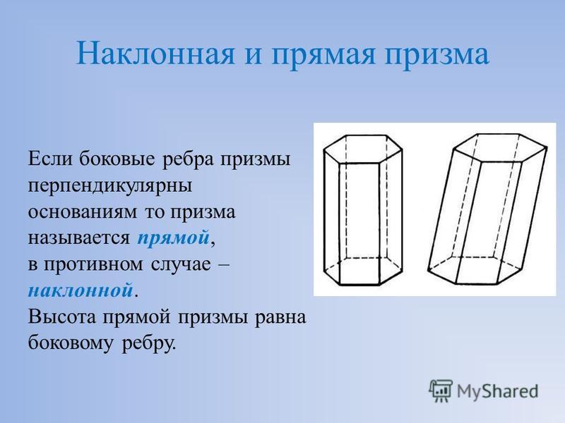 Наклонная и прямая призма Если боковые ребра призмы перпендикулярны основаниям то призма называется прямой, в противном случае – наклонной. Высота прямой призмы равна боковому ребру.