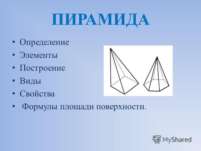 ПИРАМИДА Определение Элементы Построение Виды Свойства Формулы площади поверхности.