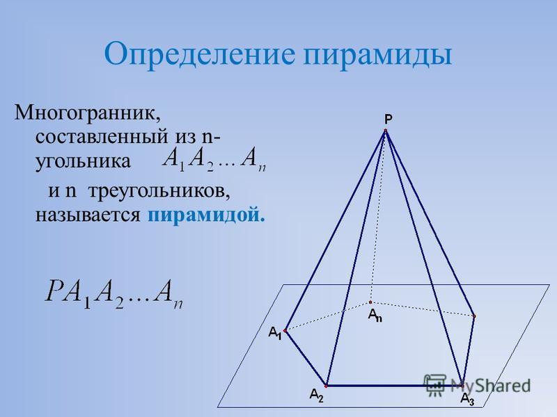Определение пирамиды Многогранник, составленный из n- угольника и n треугольников, называется пирамидой.