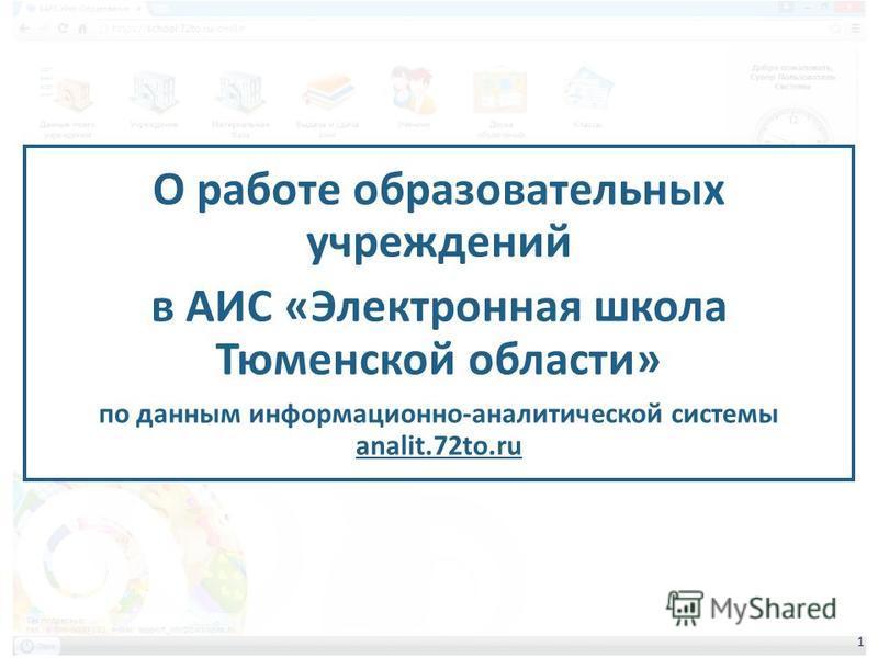 О работе образовательных учреждений в АИС «Электронная школа Тюменской области» по данным информационно-аналитической системы analit.72to.ru 1