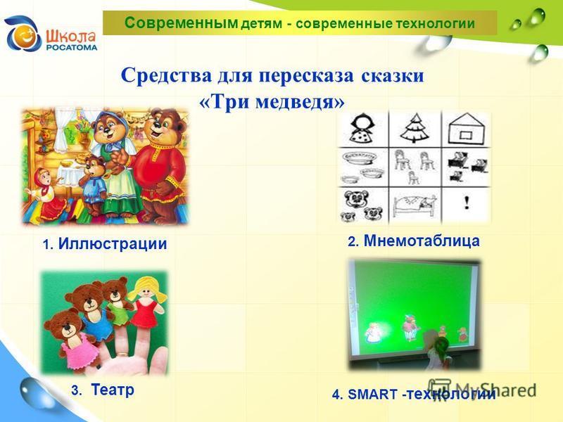 Средства для пересказа сказки «Три медведя» 1. Иллюстрации 3. Театр 2. Мнемотаблица 4. SMART - технологии Современным детям - современные технологии