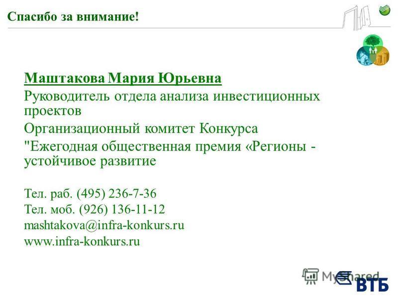Спасибо за внимание! Маштакова Мария Юрьевна Руководитель отдела анализа инвестиционных проектов Организационный комитет Конкурса