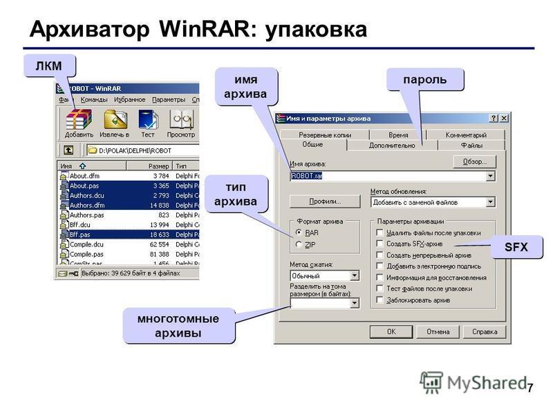 7 Архиватор WinRAR: упаковка ЛКМ тип архива SFX многотомные архивы пароль имя архива