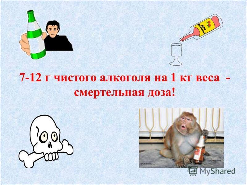 7-12 г чистого алкоголя на 1 кг веса - смертельная доза!
