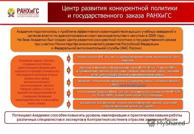 Центр развития конкурентной политики и государственного заказа РАНХиГС Академия подключилась к проблеме эффективного взаимодействия высших учебных заведений и органов власти по адвокатированию норм законодательства о закупках в 2009 году. На базе Ака