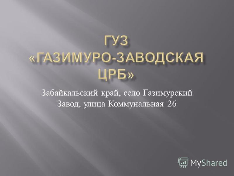 Забайкальский край, село Газимурский Завод, улица Коммунальная 26